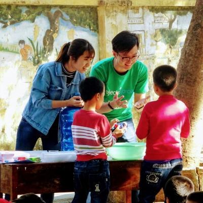 Children are taught about hygiene and washing hands by Projects Abroad volunteers at a care centre in Vietnam.